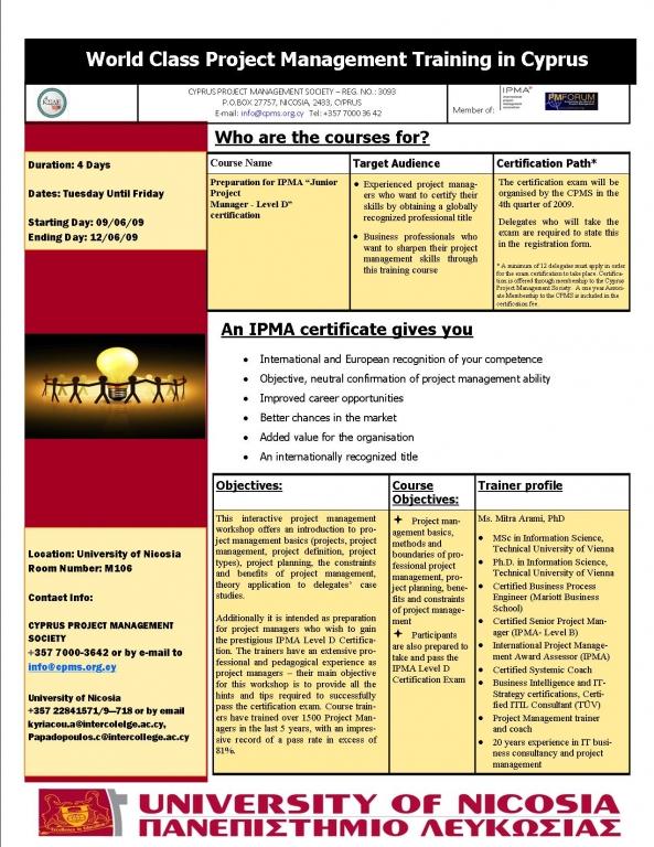 Ipma Level D Training Cyprus Project Management Society